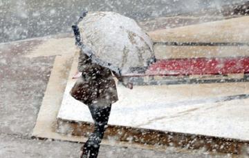 В Аранском регионе Азербайджана идет снег