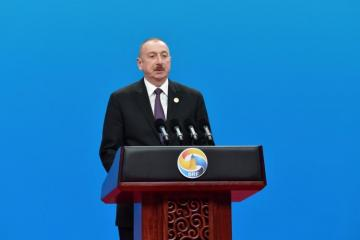 """President Ilham Aliyev: """"Azerbaijan became an important transit country with developed transportation infrastructure"""""""