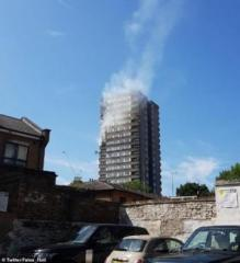 Fire breaks out in block of flats opposite Grenfell tower in London