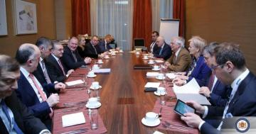 Azerbaijani FM Elmar Mammadyarov meets with Josep Borrell in breakfast meeting in Slovakia