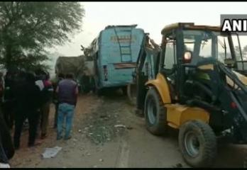 9 killed after bus hits stationary goods truck in India