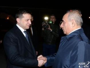 Ukrainian President Volodymyr Zelensky arrives in Azerbaijan on official visit
