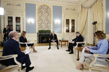 Azerbaijani President Ilham Aliyev gives interview to local journalists