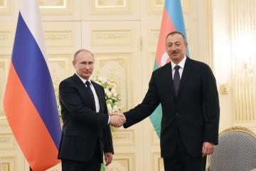 Russian President Vladimir Putin congratulates President Ilham Aliyev on his birthday