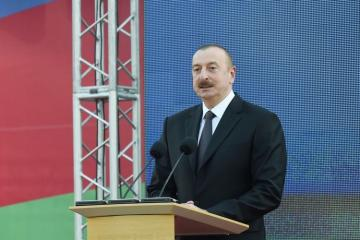 President Ilham Aliyev attends the opening of central boulevard street in Baku White City