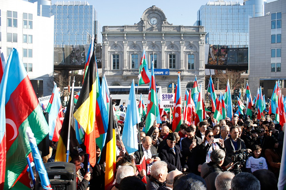 Crowded European Karabakh rally staged in Brussels
