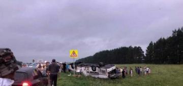 В Башкирии перевернулся автобус: 6 погибших, 13 раненых
