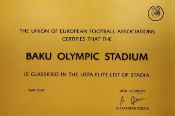 """UEFA Bakı Olimpiya Stadionu """"Elit stadionlar"""" siyahısına daxil edib"""
