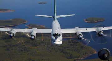 Russian bombers escorted by Japanese fighters during planned flight in Pacific Ocean