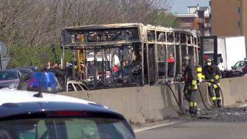 Man hijacks Italy school bus and sets it ablaze in 'migration protest'