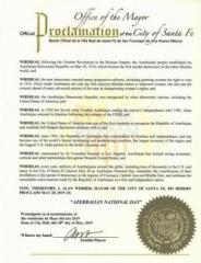 U.S. City of Santa Fe proclaims May 28 as 'Azerbaijan National Day'