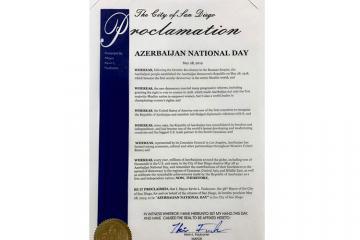 """Kaliforniyanın San Dieqo şəhərində 28 may """"Azərbaycan Milli Günü"""" elan edilib"""