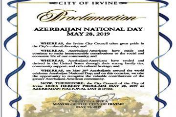 """Kaliforniyanın Örvayn şəhərində 28 may """"Azərbaycan Milli Günü"""" elan edilib"""