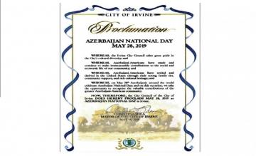 Irvine proclaims May 28 as 'Azerbaijan National Day'