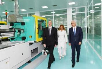 """President Ilham Aliyev attended opening of """"Diamed Co"""" syringe plant in Pirallahi Industrial Park"""