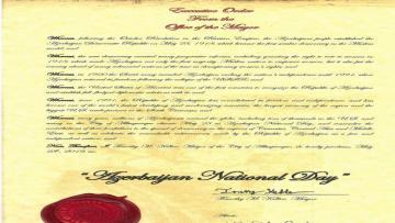 """Nyu Meksiko ştatının Albukerke şəhərində 28 may """"Azərbaycan Milli Günü"""" elan edilib"""