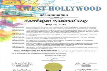 Qərbi Hollivud şəhərində 28 May Azərbaycan Milli Günü elan edilib