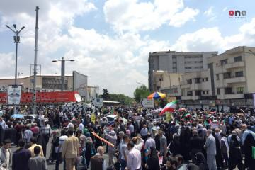 """Iranians march to back Palestinians, marking the annual """"Quds (Jerusalem) Day"""""""