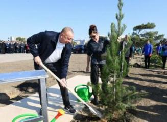 President Ilham Aliyev and first lady Mehriban Aliyeva attended tree-planting campaign in Khatai district, Baku