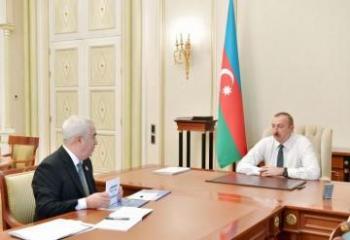 """Prezident İlham Əliyev """"Azərbaycan Dəmir Yolları"""" QSC-nin sədri Cavid Qurbanovu qəbul edib"""