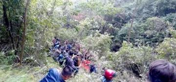 18 dead, 13 injured as passenger bus veered off a mountain road in Nepal