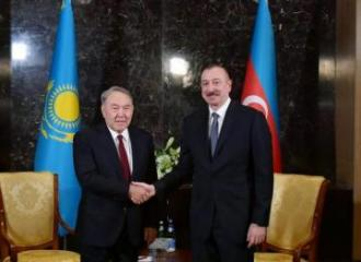 Azerbaijan President Ilham Aliyev meets with First President of Kazakhstan Nursultan Nazarbayev
