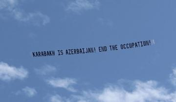 "Airplanes carrying a banner ""Karabakh is Azerbaijan! End the Occupation"" were flown during Pashinyan's visit to Los Angeles"