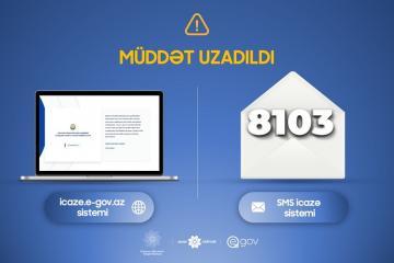 """Dövlət Agentliyi: """"icaze.e-gov.az"""" portalı və 8103 SMS icazə sistemi 4 may tarixinədək qüvvədə olacaq"""