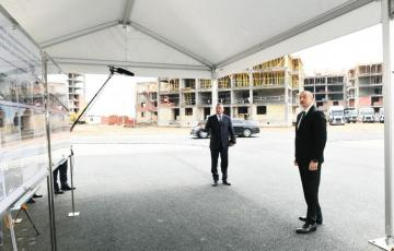 President Ilham Aliyev viewed construction progress at blocks of residential buildings for 3,042 IDP families