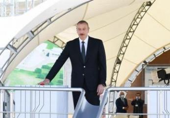 President Ilham Aliyev viewed construction of 330/220/110 kV Gobu power substation