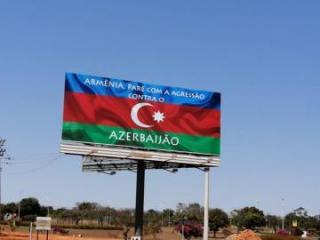 """Braziliyada magistral yolda """"Ermənistan, Azərbaycana qarşı aqressiyanı dayandır!"""" yazılmış panel quraşdırılıb"""