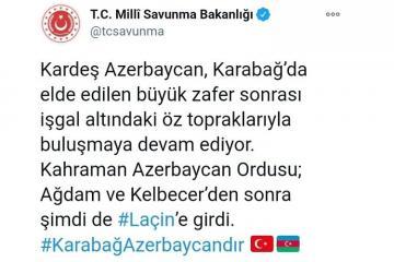 Минобороны Турции поделилось публикацией в связи с освобождением Лачина
