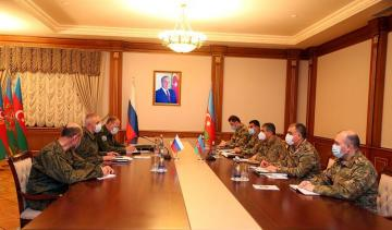Azerbaijani Defense Minister meets with Commander of the peacekeeping forces deployed in the Nagorno-Karabakh region of Azerbaijan