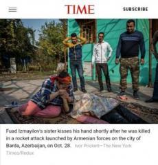 """Ermənilərin Bərdəyə atdığı bomba nəticəsində həlak olanların fotosu """"TIME"""" jurnalında """"İlin 100 fotosu""""na daxil edilib"""