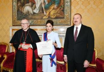 Первый вице-президент Азербайджана Мехрибан Алиева удостоена папского рыцарского ордена в Ватикане