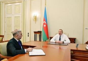 President Ilham Aliyev receives Vugar Ahmadov in connection with his appointment as Chairman of Azerishig