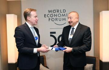 President Ilham Aliyev met with President of World Economic Forum in Davos