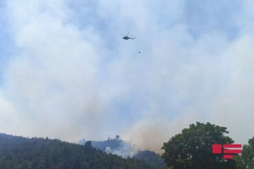 Fire breaks out in mountainous territory of Azerbaijan's Gabala, helicopters involved in extinguishing the fire