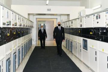 President Ilham Aliyev attends opening of the reconstructed substation in Baku's Nizami district