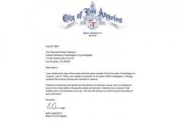 Los Angeles Mayor condemns the violence against Azerbaijani community members