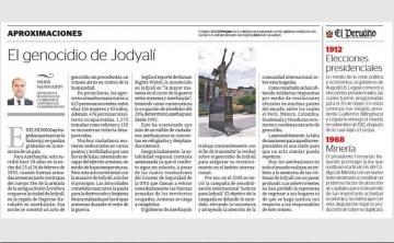 В перуанской газете «El Peruano» опубликована статья о Ходжалинском геноциде