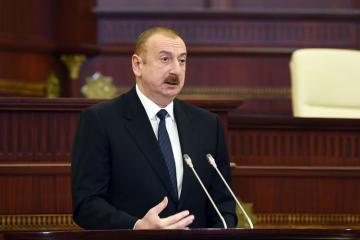 Prezident İlham Əliyev Milli Məclisin yeni tərkibdə ilk iclasında çıxış edib