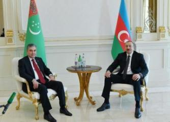 Azerbaijani, Turkmen presidents made press statements
