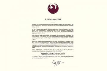 """Arizona ştatının paytaxtında 28 May """"Azərbaycan Milli Günü"""" elan edilib"""