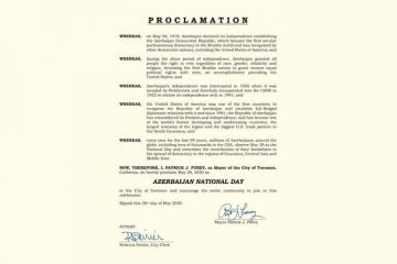 City of Torrance in California proclaims May 28 as 'Azerbaijan National Day'