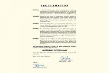 В калифорнийском городе Торренс 28 мая объявлен «Национальным днем Азербайджана»