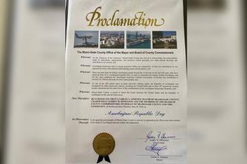 В американском городе Майами-Дейд 28 мая объявлено «Днем Азербайджанской Республики»