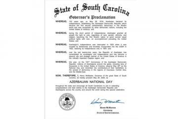 ABŞ-ın Cənubi Karolina ştatında Azərbaycan Milli Günü bəyan edilib