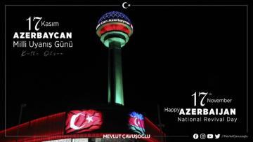 """Mövlud Çavuşoğlu: """"1988-ci ildə Bakıda qaldırılan Azərbaycan bayrağı bu gün işğaldan azad edilən torpaqlarda dalğalanır!"""""""