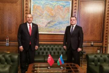 One-on-one meeting being held between Azerbaijani and Turkish FMs